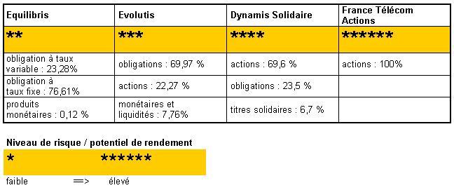 Composition des fonds au 30/12/2012